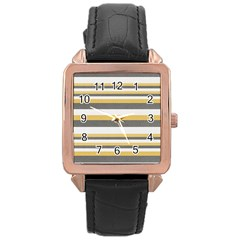 Textile Design Knit Tan White Rose Gold Leather Watch