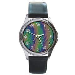 Texture Abstract Background Round Metal Watch