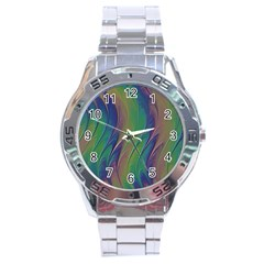 Texture Abstract Background Stainless Steel Analogue Watch
