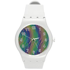 Texture Abstract Background Round Plastic Sport Watch (m)