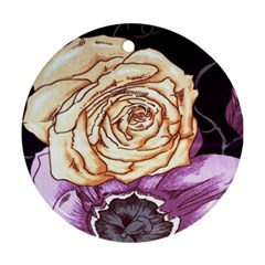 Texture Flower Pattern Fabric Design Ornament (Round)