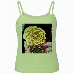 Texture Flower Pattern Fabric Design Green Spaghetti Tank