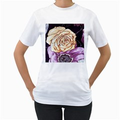 Texture Flower Pattern Fabric Design Women s T-Shirt (White) (Two Sided)