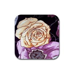 Texture Flower Pattern Fabric Design Rubber Square Coaster (4 pack)