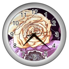 Texture Flower Pattern Fabric Design Wall Clocks (silver)