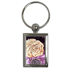 Texture Flower Pattern Fabric Design Key Chains (Rectangle)