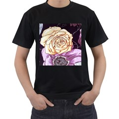 Texture Flower Pattern Fabric Design Men s T-Shirt (Black) (Two Sided)