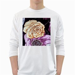 Texture Flower Pattern Fabric Design White Long Sleeve T Shirts