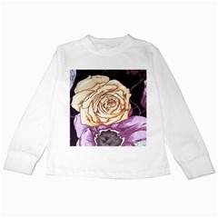 Texture Flower Pattern Fabric Design Kids Long Sleeve T-Shirts