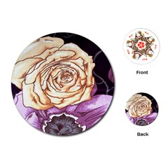 Texture Flower Pattern Fabric Design Playing Cards (Round)