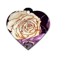 Texture Flower Pattern Fabric Design Dog Tag Heart (one Side)