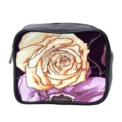 Texture Flower Pattern Fabric Design Mini Toiletries Bag 2-Side