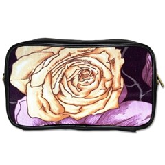 Texture Flower Pattern Fabric Design Toiletries Bags 2 Side