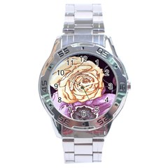 Texture Flower Pattern Fabric Design Stainless Steel Analogue Watch