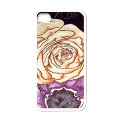 Texture Flower Pattern Fabric Design Apple Iphone 4 Case (white)