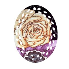 Texture Flower Pattern Fabric Design Oval Filigree Ornament (Two Sides)