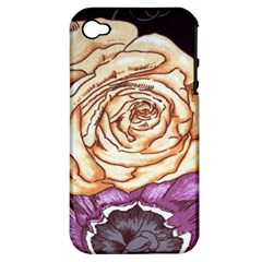 Texture Flower Pattern Fabric Design Apple Iphone 4/4s Hardshell Case (pc+silicone)