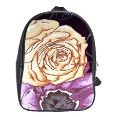 Texture Flower Pattern Fabric Design School Bags (xl)