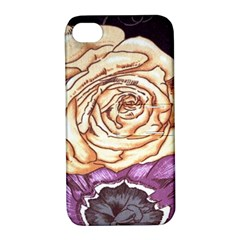 Texture Flower Pattern Fabric Design Apple iPhone 4/4S Hardshell Case with Stand