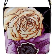 Texture Flower Pattern Fabric Design Flap Messenger Bag (s)