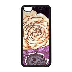 Texture Flower Pattern Fabric Design Apple Iphone 5c Seamless Case (black)
