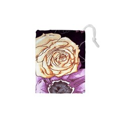 Texture Flower Pattern Fabric Design Drawstring Pouches (XS)
