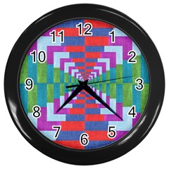 Texture Fabric Textile Jute Maze Wall Clocks (Black)