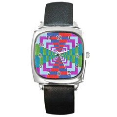 Texture Fabric Textile Jute Maze Square Metal Watch