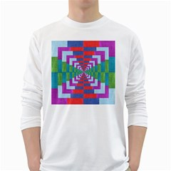 Texture Fabric Textile Jute Maze White Long Sleeve T-Shirts