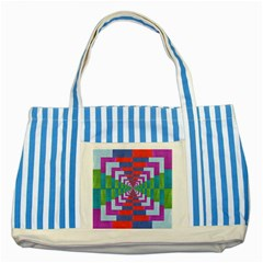 Texture Fabric Textile Jute Maze Striped Blue Tote Bag