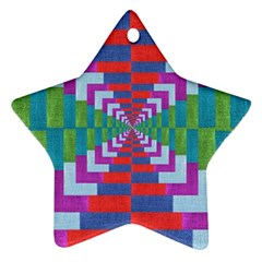 Texture Fabric Textile Jute Maze Star Ornament (Two Sides)
