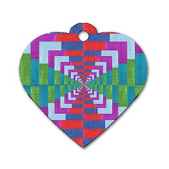 Texture Fabric Textile Jute Maze Dog Tag Heart (Two Sides)