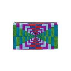Texture Fabric Textile Jute Maze Cosmetic Bag (Small)