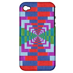 Texture Fabric Textile Jute Maze Apple Iphone 4/4s Hardshell Case (pc+silicone)