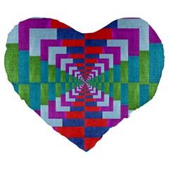 Texture Fabric Textile Jute Maze Large 19  Premium Heart Shape Cushions