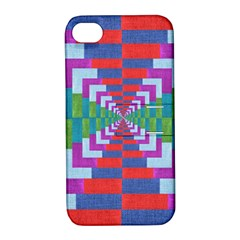 Texture Fabric Textile Jute Maze Apple Iphone 4/4s Hardshell Case With Stand