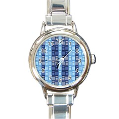 Textile Structure Texture Grid Round Italian Charm Watch