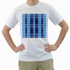 Textile Structure Texture Grid Men s T-Shirt (White) (Two Sided)