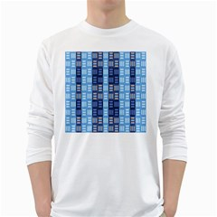 Textile Structure Texture Grid White Long Sleeve T-Shirts