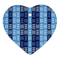 Textile Structure Texture Grid Heart Ornament (two Sides)