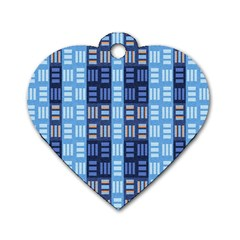 Textile Structure Texture Grid Dog Tag Heart (Two Sides)