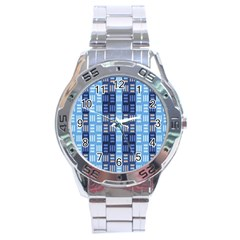 Textile Structure Texture Grid Stainless Steel Analogue Watch