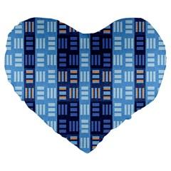 Textile Structure Texture Grid Large 19  Premium Heart Shape Cushions