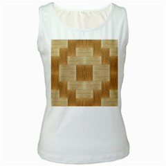 Texture Surface Beige Brown Tan Women s White Tank Top