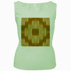 Texture Surface Beige Brown Tan Women s Green Tank Top