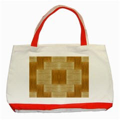 Texture Surface Beige Brown Tan Classic Tote Bag (Red)