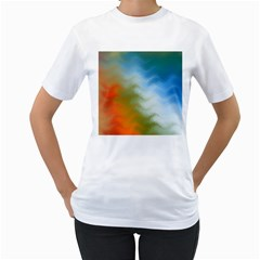 Texture Glass Colors Rainbow Women s T-Shirt (White) (Two Sided)