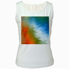 Texture Glass Colors Rainbow Women s White Tank Top