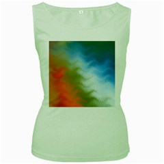 Texture Glass Colors Rainbow Women s Green Tank Top