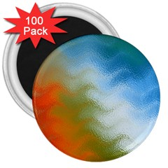 Texture Glass Colors Rainbow 3  Magnets (100 pack)